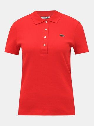 Červené žebrované polo tričko Lacoste