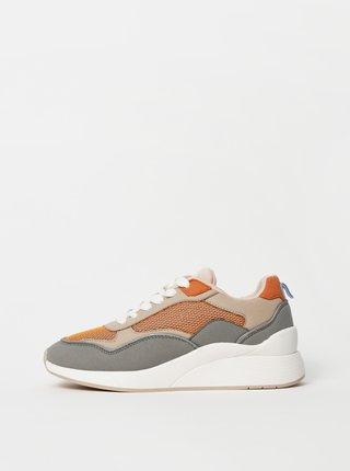 Šedo-oranžové tenisky v semišovej úprave Vero Moda Linea