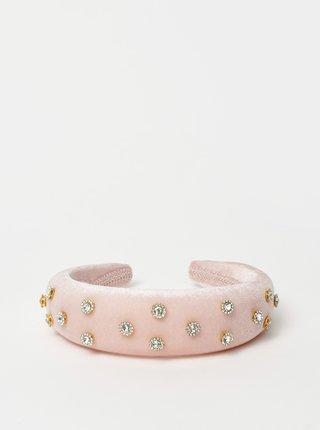 Ružová sametová čelenka s kamienkami Vero Moda Katie