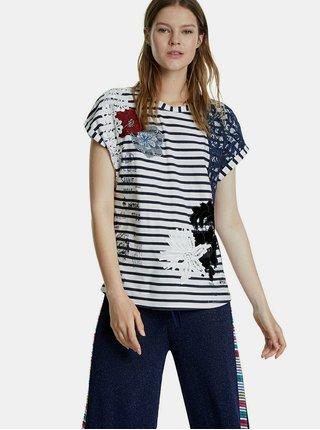 Modro-biele pruhované tričko s nášivkou Desigual Refresh