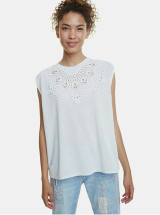 Bílé tričko s potiskem Desigual Budapest
