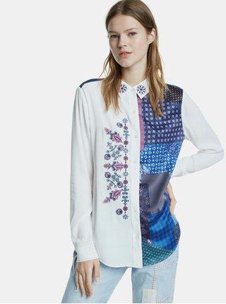 Modro-bílá vzorovaná košile s výšivkou Desigual Lucca
