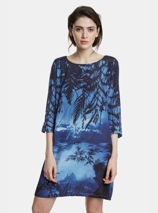 Tmavě modré vzorované šaty Desigual Bruna