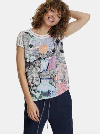 Bielo-modré vzorované tričko Desigual Viena