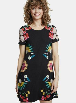 Černé květované šaty Desigual Dallas