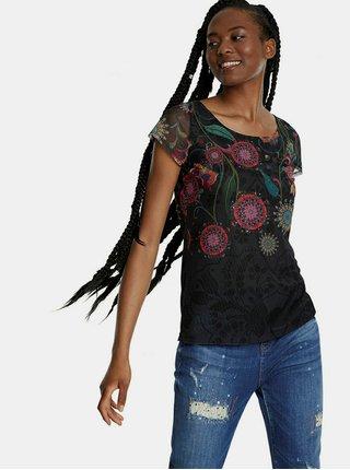 Černé vzorované tričko Desigual Karen