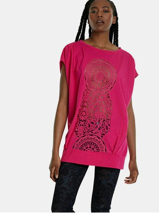 Ružové vzorované tričko Desigual