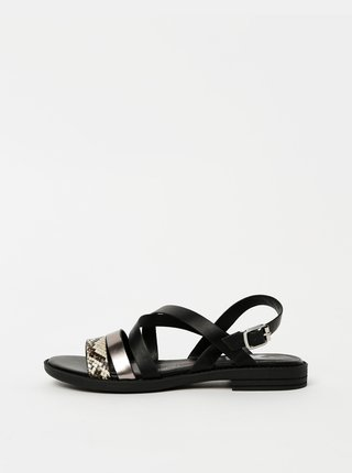 Čierne dámske sandále s hadím vzorom Xti