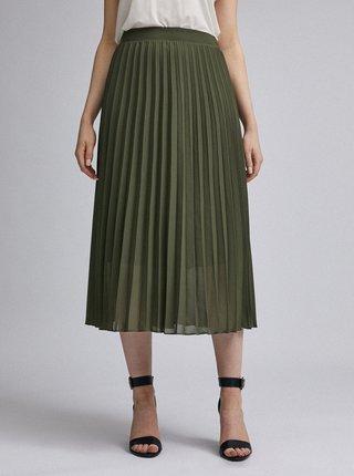 Khaki plisovaná midi sukně Dorothy Perkins
