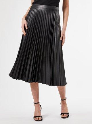 Čierna plisovaná midi sukňa s povrchovou úpravou Dorothy Perkins