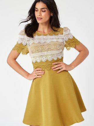 Horčicové šaty s krajkou Little Mistress