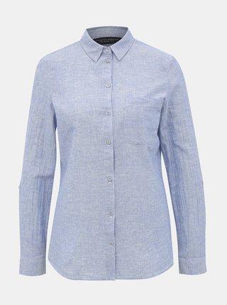 Modrá košeľa s prímesou ľanu Dorothy Perkins