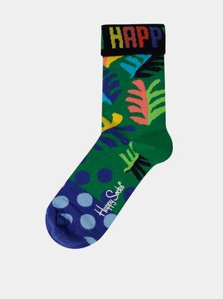 Modro-zelené dámske vzorované ponožky Happy Socks Big Leaf