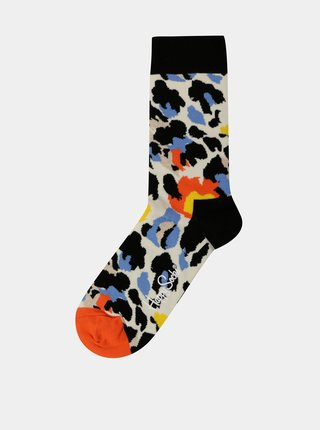 Černo-bílé dámské ponožky s leopardím vzorem Happy Socks Leopard