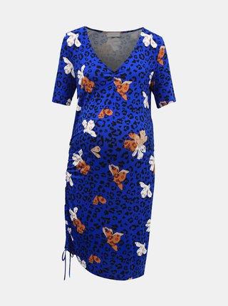 Tmavomodré tehotenské šaty s leopardím vzorom Mama.licious Cilja