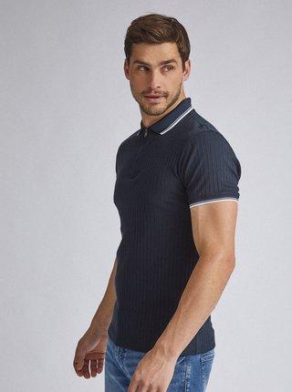 Tmavě modré žebrované polo tričko Burton Menswear London