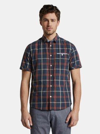 Tmavě modrá pánská kostkovaná regular fit košile Tom Tailor
