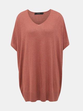 Cihlový oversize svetr s příměsí lnu VERO MODA Eleo