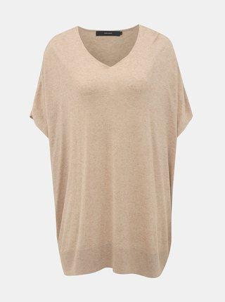 Béžový oversize sveter s prímesou ľanu VERO MODA Eleo