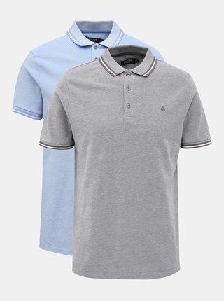 Sada dvoch polokošelí v šedej a modrej farbe Burton Menswear London