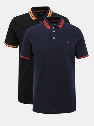 Sada dvou polo triček v modré a černé barvě Burton Menswear London