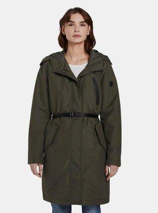 Tmavě zelený dámský voděodpudivý kabát Tom Tailor