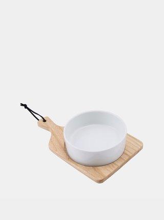 Biela miska s drevenou doskou CGB