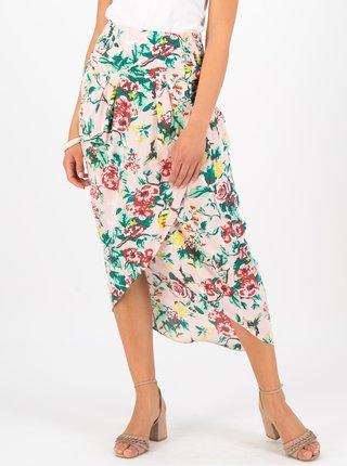 Světle růžová květovaná midi sukně Blutsgeschwister