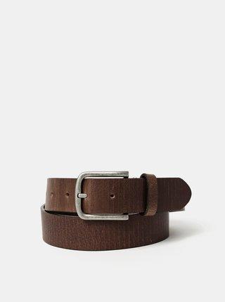 Tmavě hnědý kožený pásek Jack & Jones Clay