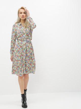Zeleno-bílé květované košilové šaty ONLY Floral