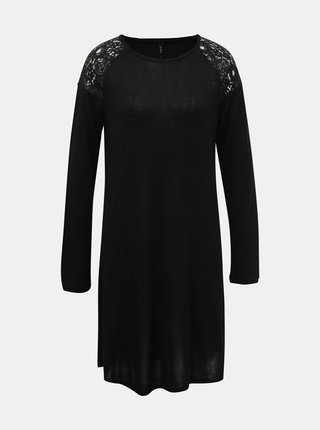 Čierne svetrové šaty s krajkou ONLY Karla