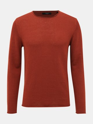 Tehlový ľanový basic sveter Jack & Jones Premium Blalinen