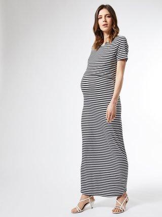 Biele pruhované tehotenské/dojčiace basic maxišaty Dorothy Perkins Maternity