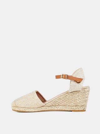 Béžové sandálky na plnom podpätku Dorothy Perkins