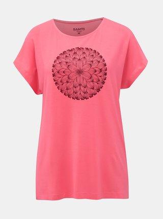 Ružové dámske tričko s potlačou SAM 73