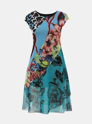 Zelené tylové květované šaty Desigual Cleveland