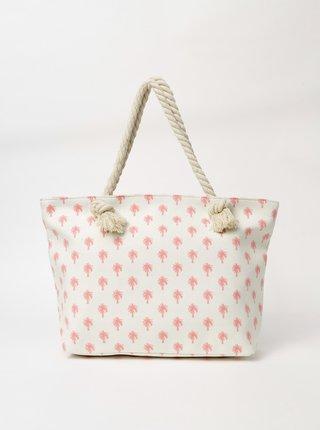 Růžovo-bílá dámská vzorovaná plážová taška Haily´s Summer Vibes
