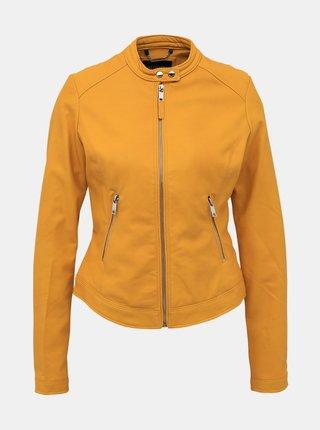 Horčicová dámska koženková bunda Alcott