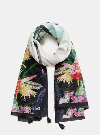 Modrý květovaný šátek Desigual