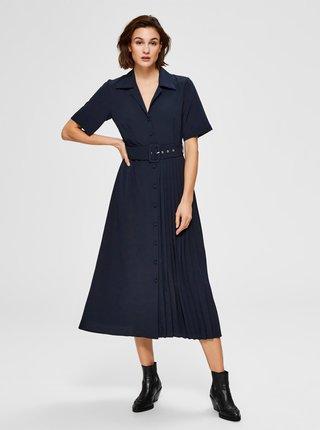 Tmavě modré košilové midišaty Selected Femme Aleena