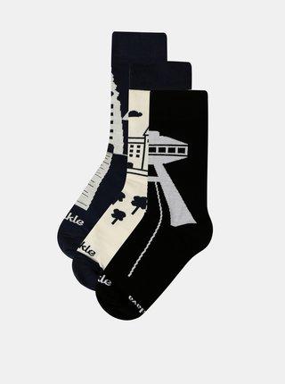 Sada tří párů ponožek v krémovo-modré barvě Fusakle Bratislava