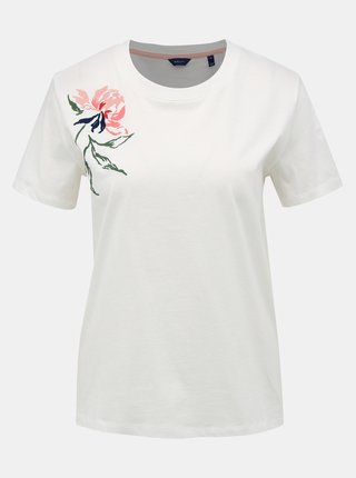 Bílé dámské tričko s výšivkou GANT