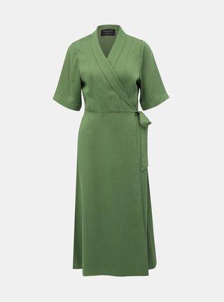 Zelené zavinovacie midišaty Selected Femme Tasia