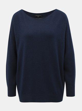 Tmavomodrý sveter s prímesou vlny Selected Femme Naya