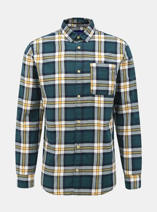 Tmavozelená kockovaná košeľa Jack & Jones Jeff