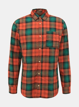 Oranžová kostkovaná košile Jack & Jones Jeff