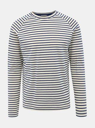 Modro-biele pruhované basic tričko Selected Homme Tron