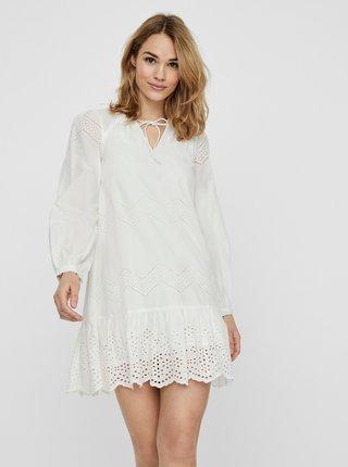 Bílé šaty s madeirou VERO MODA Olivia