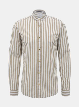 Béžovo-biela pruhovaná slim fit košeľa ONLY & SONS Mattew