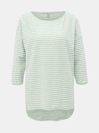 Světle zelené pruhované volné tričko s 3/4 rukávem ONLY Elly